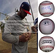 Nolan Fontana Texas Rangers Autographed Hand Signed Baseball with Exact Proof Photo of Signing and COA, Los Angeles Angels