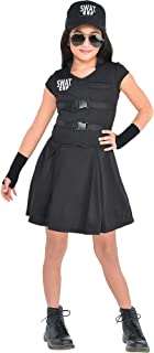S.W.A.T. Cop Costume for Children, Includes a Black Dress, Baseball Cap, and Fingerless Gloves