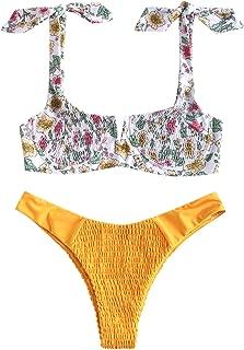 Women's Smocked Bowknot Shoulder Underwire V Cut Bikini Set Two Piece Shirred Swimsuit Swimwear