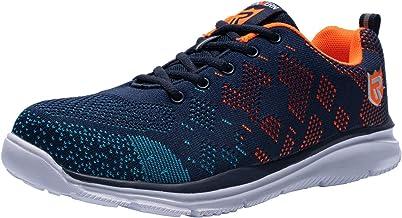 LARNMERN Zapatos de Seguridad para Hombre con Puntera de Acero Zapatillas 45 EU, Naranja Azul Ligeros y Transpirables Zapatos de Entrenamiento prevenci/ón de pinchazos LM-112