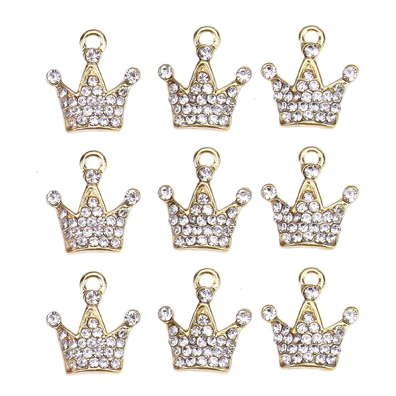 Monrocco 20 pcs Crown Charms Bulk Gold Crystal Flatback Buttons Embellishments