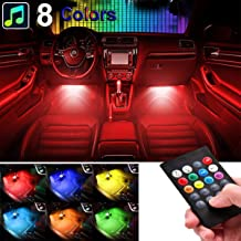 sunva Car LED Strip Light, Sound Active 4pcs 48 LED Multicolor Music Car Interior Lights Under Dash Waterproof Lighting Kit, Wireless Remote Control, Car Charger Included fit All Vehicles