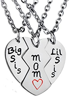Nzztont 3PCs Mother Daughters Mom Lil Sis Big Sis Matching Love Heart Pendant Necklace Set Gifts