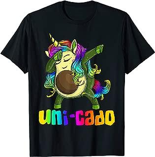 Uni Cado Dabbing Unicorn Avocado Rainbow Girl Birthday Gift T-Shirt