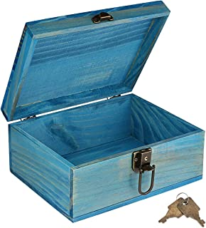wooden lock box with key