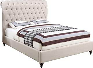 Asghar Furniture - Acel Rolled Top Bed - Beige, Super King Without Mattress