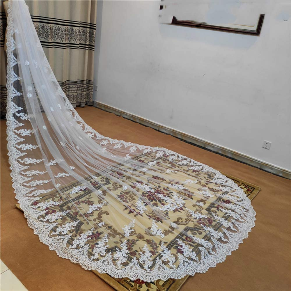 Women's Full Lace Bottom Wedding Veil with Lace Appliques 1 Tier for Bride
