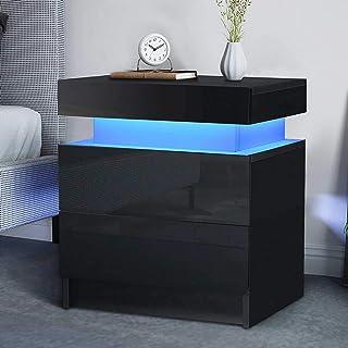 Bedroom Furniture Modern Glossy Bedside Cabinet 2 Large Drawers