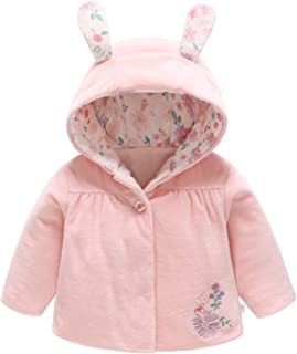 Curipeer Baby Jacket Infant with Cartoon Rabbit Ear Warm Girls Jacket Outwear for Winter