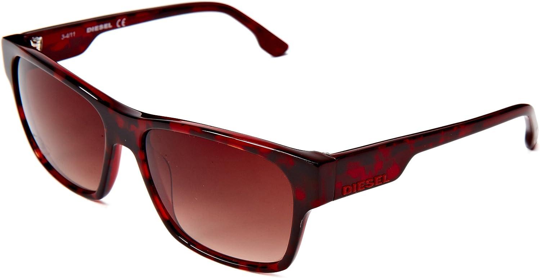 Diesel DL00125756F Wayfarer Sunglasses,Brown,57 mm