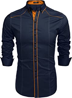 Men's Slim-Fit Long-Sleeve Solid Casual Shirts Button Down Dress Shirt