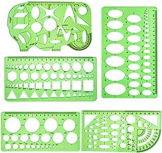 Modèles de mesure, 5 pièces Modèles de dessin géométrique vert Pochoirs Gabarit de mesure en plastique Règles Modèles de d...
