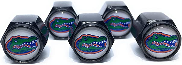 Buycleverly Florida Gators Football NCAA Logo Metal Tire Valve Stem Caps Set/5 Pcs for Vehicles Cars Sedan Compact Luxury Wheels SUV's Pickup's Motorcycles