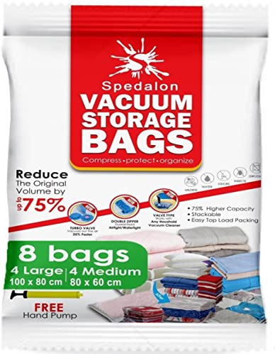 Vacuum Storage Bags - Pack of 8 (4 Large + 4 Medium) ReUsable space savers with free Hand Pump for travel packing - B...
