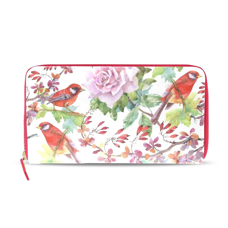 判決正しく周辺AOMOKI 財布 レディース 長財布 花柄 薔薇 カラフル 鳥 ラウンドファスナー PUレザー 大容量 二つ折り 幅20*丈11cm