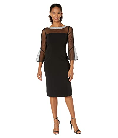 Alex Evenings Short Shift Dress with Beaded Illusion Neckline and Bell Sleeves (Black) Women
