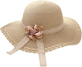 Flyme Elegant Summer Straw Hat with Bowknot Big Brim Beach Hat Sun-Shaded Breathable Foldable Ajustable Cap for Children (Beige)