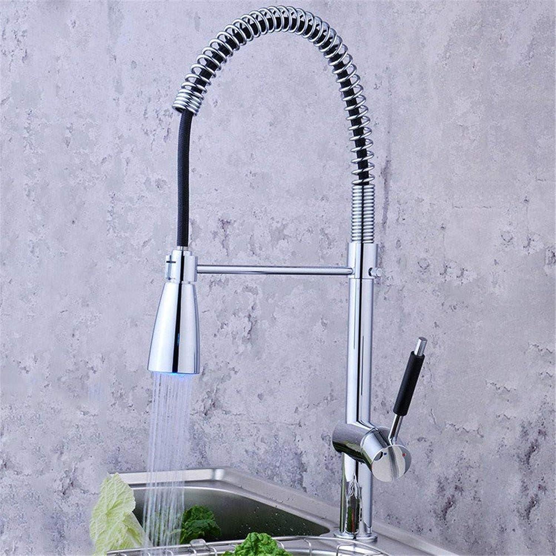 Wasserhahn Küche Waschbecken Badezimmer Geführte drehende Art- und Weisehausküche-Hahn-voller kupferner Metallfrühling Caipen-Hahn-heie und kalte Hhne