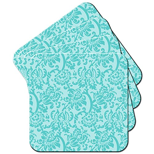 Pad /& Coaster Turquoise Floral Wallpaper Design Mouse Mat
