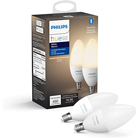 Philips Hue White 2-Pack LED Smart Candle, Bluetooth & Zigbee Compatible (Hue Hub Optional),Works with Alexa & Google Assistant – A Certified for Humans Device