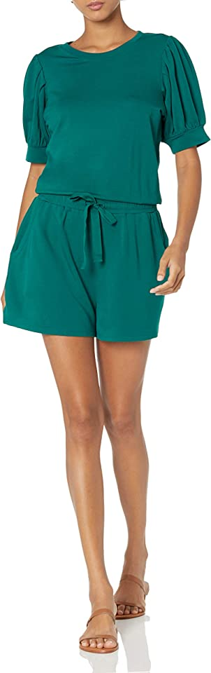 Daily Ritual Women's Puff Sleeve Supersoft Terry Romper