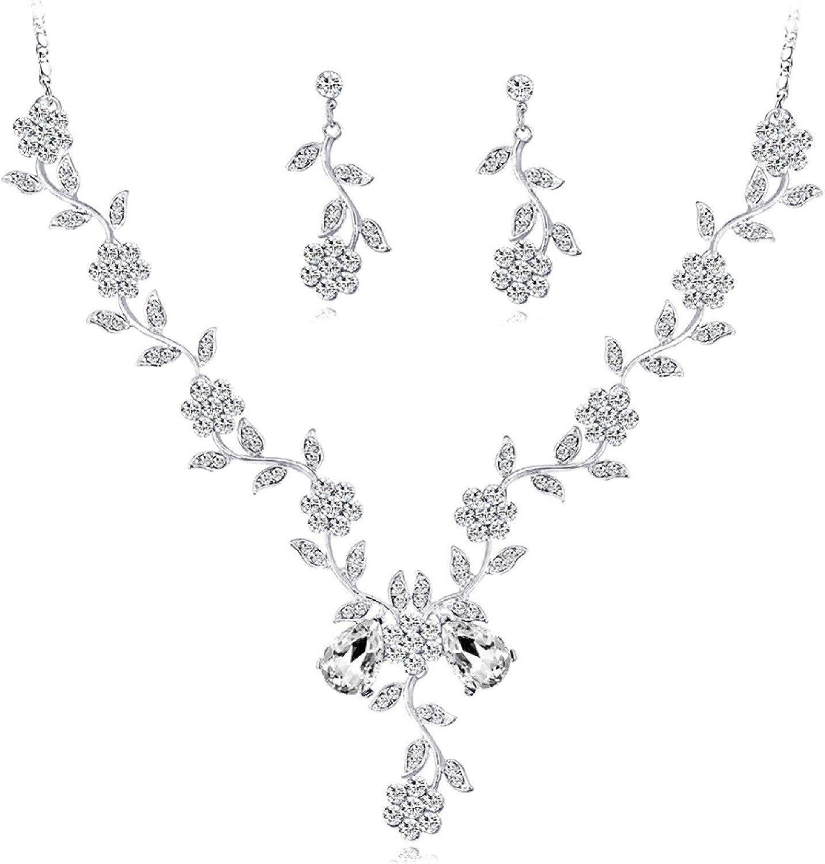 Jewelry Sets for Women,Women Rhinestone Leaves Flower Necklace Stud Earrings Wedding Bridal Jewelry Set