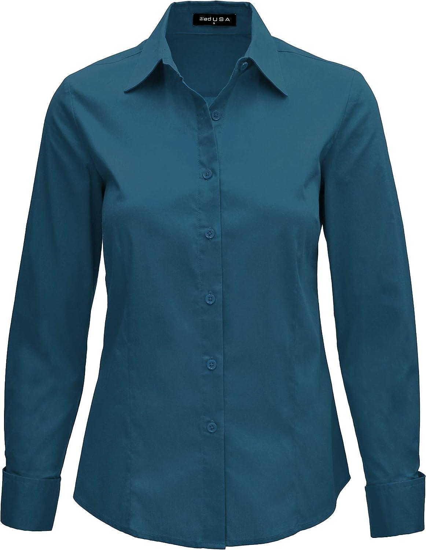 iliad USA Women's Basic Long Sleeve Slim Fit Button Down Shirt