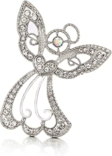 "RareLove Big Size 2.44"" Vintage Angel Hollow Wing Heart Christmas Pins and Brooches CZ Crystal Embed Brooch Pin Gift for W..."