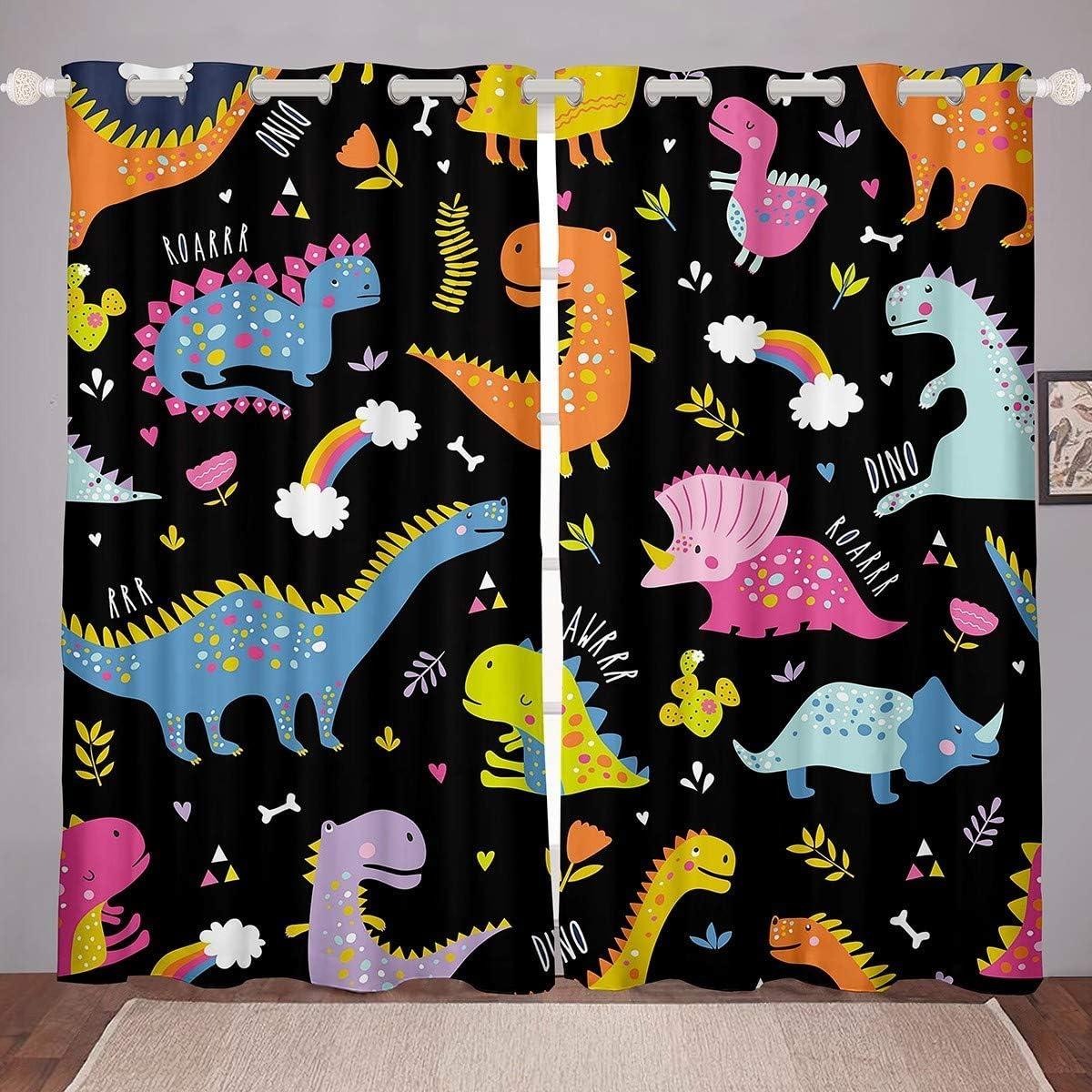 Kids 40% OFF Cheap Sale Max 46% OFF Cartoon Animal Curtains Cute Window Dinosaur B for