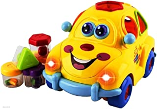 WolVol Electric Musical Car Toy with Lights and Sounds, Fruit Shape Sorters Activity, goes Around and Changes Directions on Contact - Safe Sturdy Educational Toy for Toddlers 18 Months +