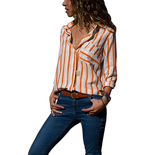 688874366f6293 ROSKIKI Women Casual Striped Button Down Long Sleeve Blouses Tops V Neck  Tshirts with Pocket