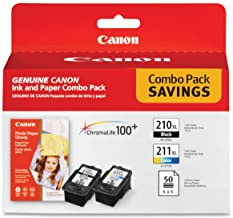 Canon PG-210 XL and CL-211 XL Ink and Glossy Photo Paper Combo Pack, Compatible to MP495,MP280,MP490,MP480,MP270,MP240, MX...