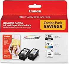 Canon PG-210 XL and CL-211 XL Ink and Glossy Photo Paper Combo Pack, Compatible to MP495,MP280,MP490,MP480,MP270,MP240, MX420,MX410,MX350,MX340 and MX330