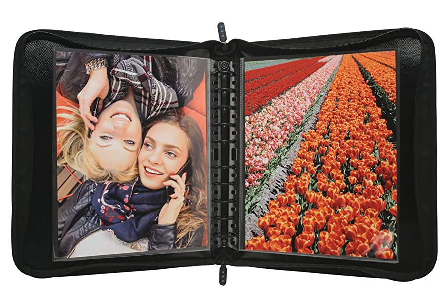 ProFolio by Itoya, Zipper Binder,  Includes 5 Polyglass Pocket Pages - 14 x 17 Inches