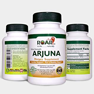 Roar ARJUNA - 1200mg Max Strength Health Supplement for Cholesterol, Blood Pressure & Healthy Heart Function Support - 60 Ayurvedic Capsules.