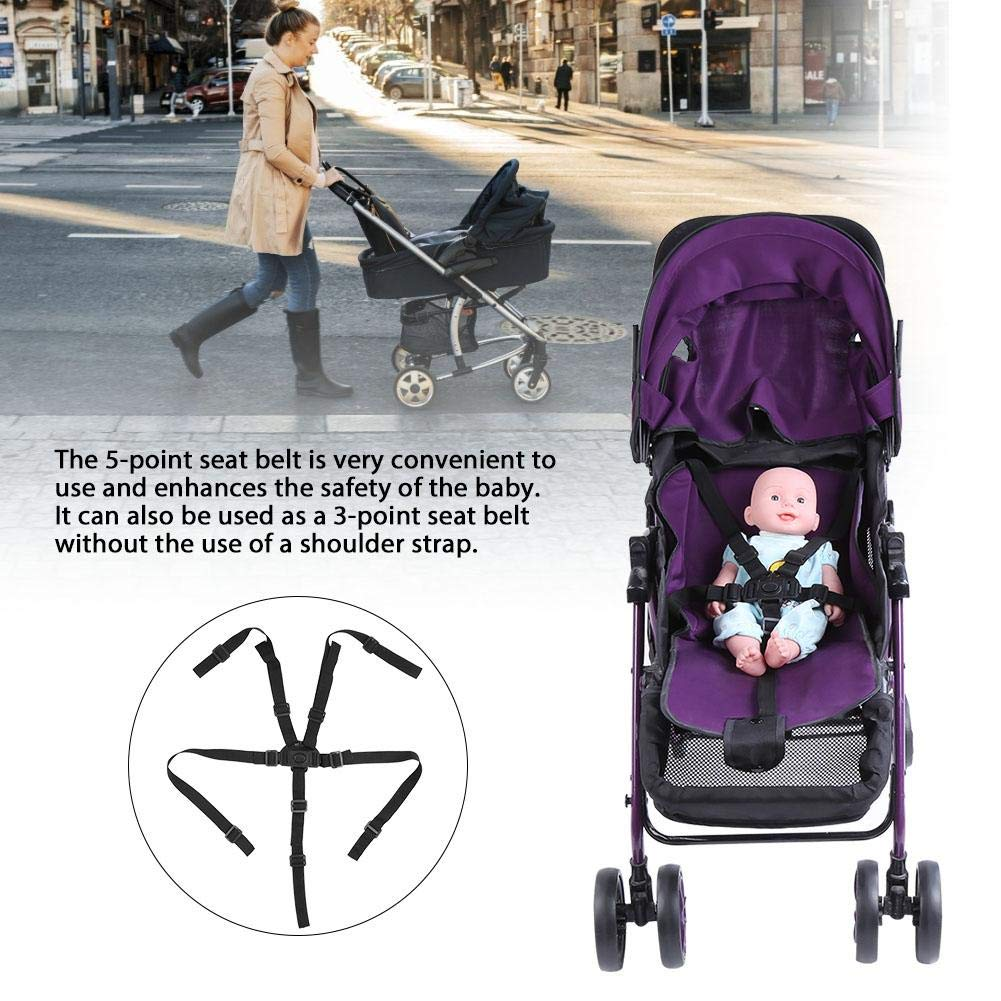 Universal Baby 5 Point Harness Belt High Chair Safety Belts Harness Stroller Children Pushchair Rotating Protection Adjustable Shoulder Strap Belts Straps for Pram Accessories(Buckle Type)