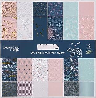 Toga Papier 30 x 30 Scrapbooking, Bleu Nuit et Rose Pastel, 30,5 x 30,5 cm