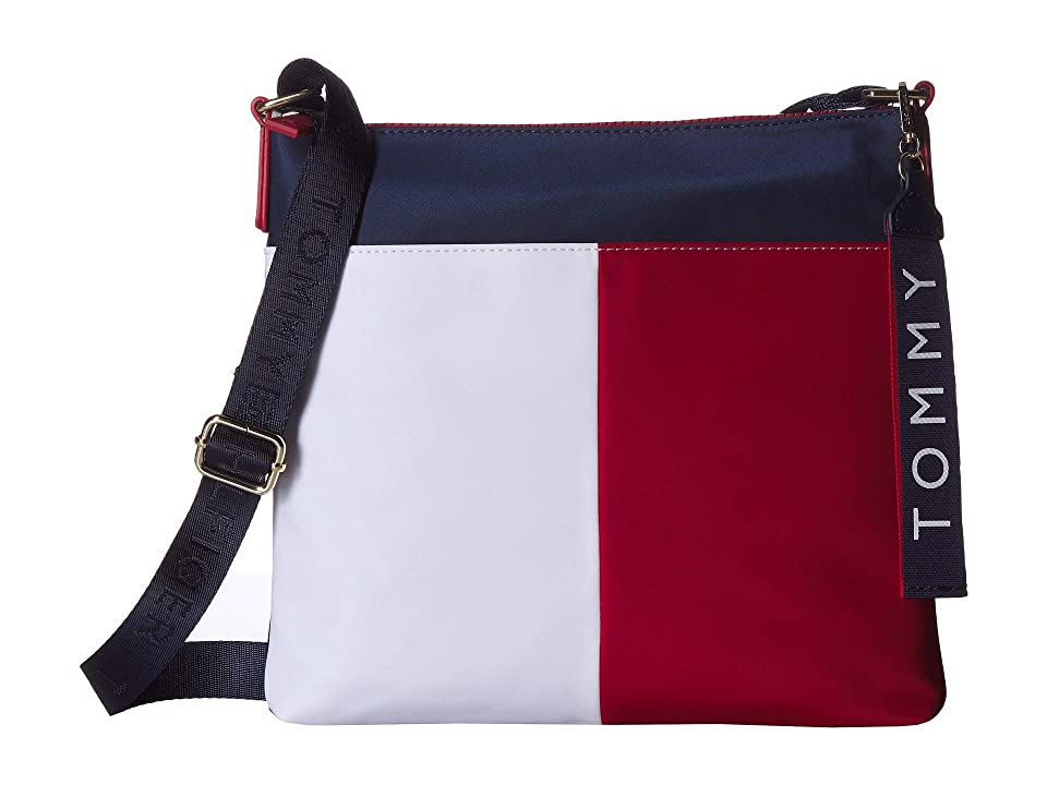Tommy Hilfiger Leah North/South Crossbody (Navy/Red/White) Handbags, Blue