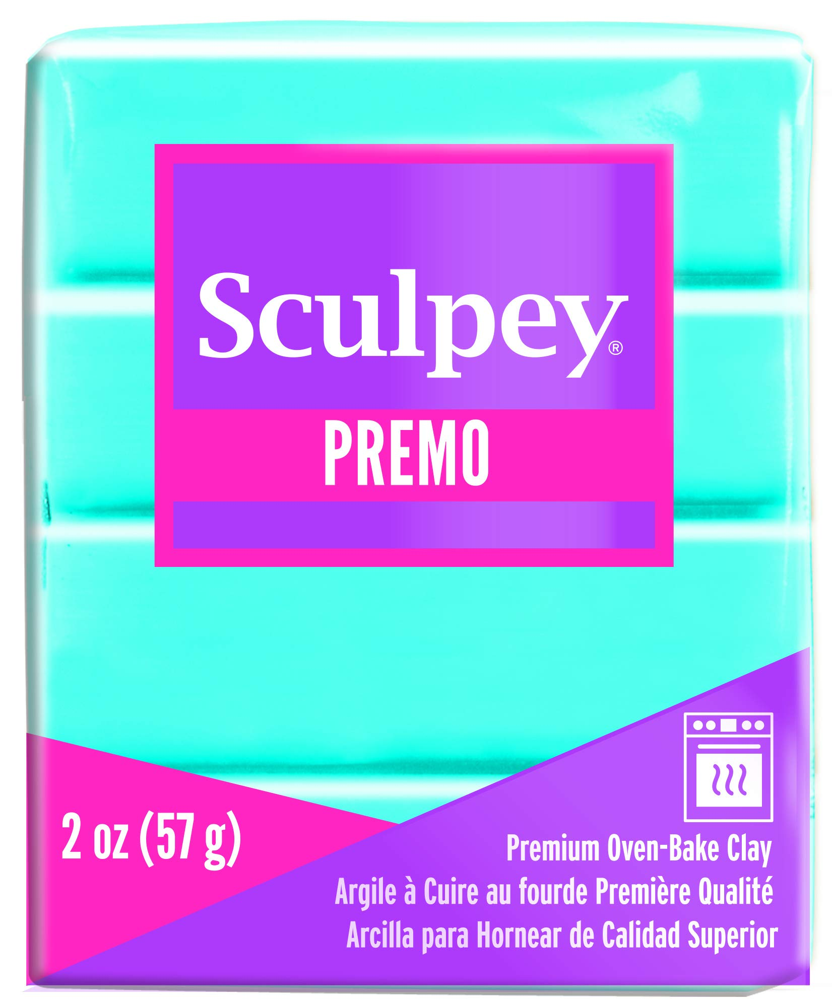 Sculpey Premo Polymer Oven-Bake Clay, Turquoise, Non Toxic, 2 oz. bar, Great for jewelry making, holiday, DIY, mixed media and home décor projects. Premium clay perfect for clayers and artists.