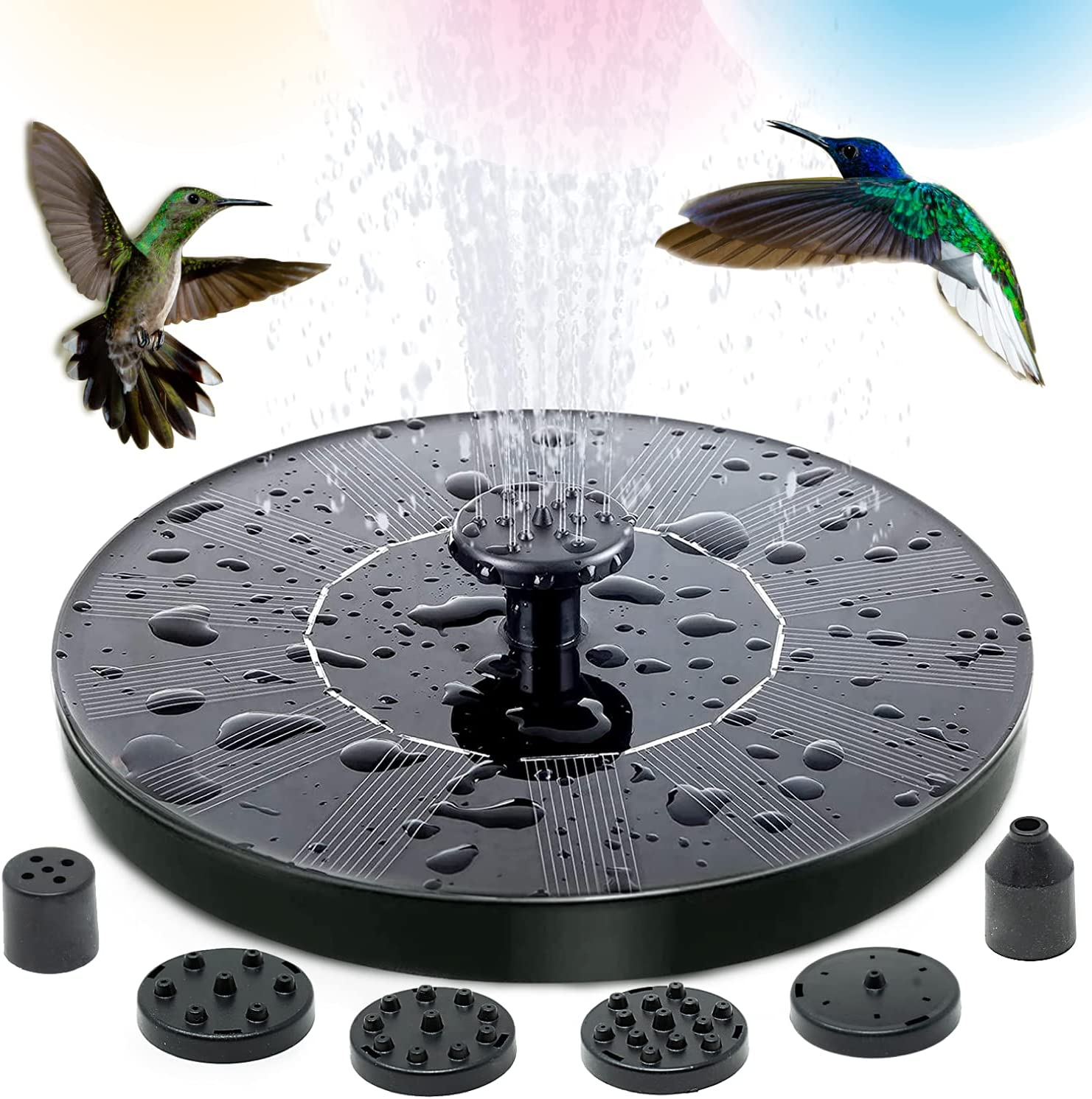 SOLAR POWERED FOUNTAIN PUMP FOR BIRD BATH, EASY TO SET 1.5W FLOATING SOLAR WATER PUMP WITH 6 NOZZLES FOR GARDEN, POND, FOUNTAIN, POOL, BIRD BATH