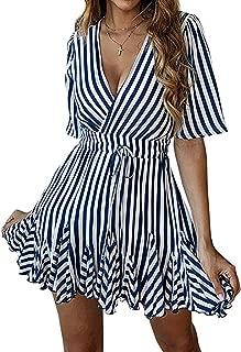 Women's Sexy Deep V Neck Short Sleeve Striped Wrap Ruffle Hem Pleated Mini Dress with Belt
