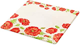 Ambesonne Floral Cutting Board, Illustration of a Card with Poppy Flowers Floral Arrangement Pattern Artwork, Decorative Tempered Glass Cutting and Serving Board, Large Size, Beige Red