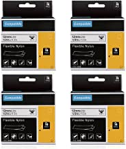 Equivalent to DYMO 18488 Industrial Flexible Nylon Cabel Label Tape, 1/2Inch x 3.5m, Compatible for DYMO LabelWriter and Industrial Label Makers Rhino 5200 4200 5000, Black on White, 4-Pack