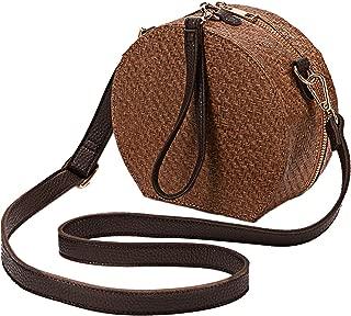 Handwoven Straw Bag Nature Round Purse Cross Body Beach Handbag Top Handle Satchel Gift for Women Girls