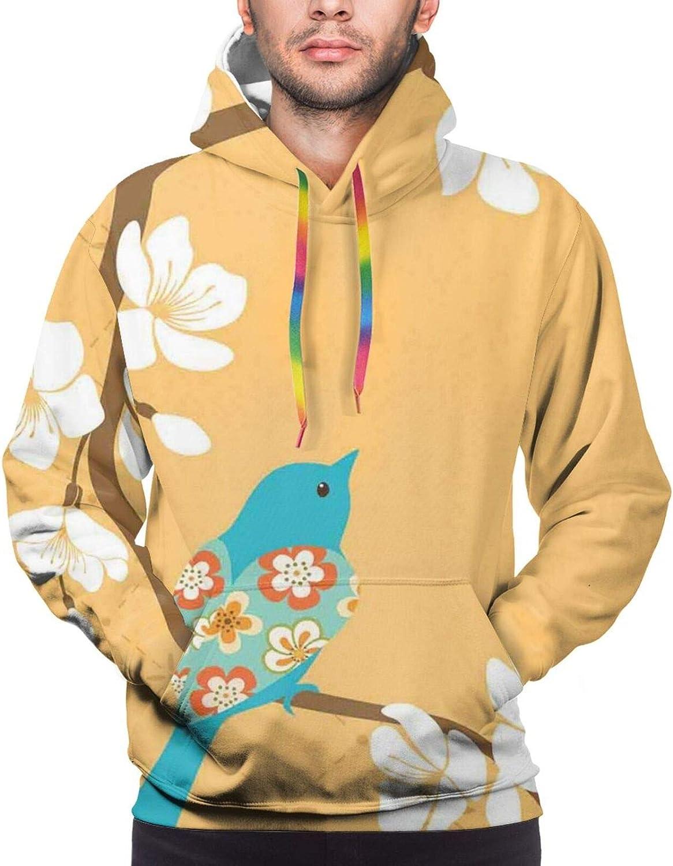 Men's Hoodies Sweatshirts,Floral Pattern Wildflowers Leaves and Butterflies Nature Inspired Illustration