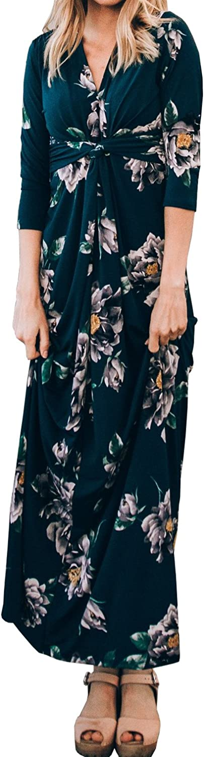 Imily Bela Womens Casual Floral Printed Maxi Ruched Twist Knot Cocktail Sexy Dresses