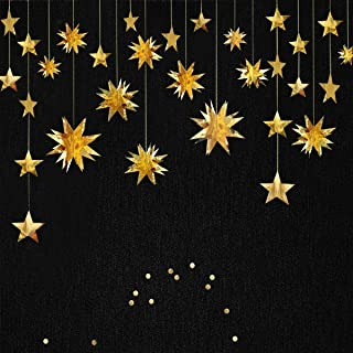 Gold Decorations Kit Star Paper Garland 3D Stars Party Decor Metallic Bunting Banner Holiday Supplies Birthday Wedding Baby Shower Hanging Decorations for Nursery Kids Girls Room by PinkBlume(4 Set)