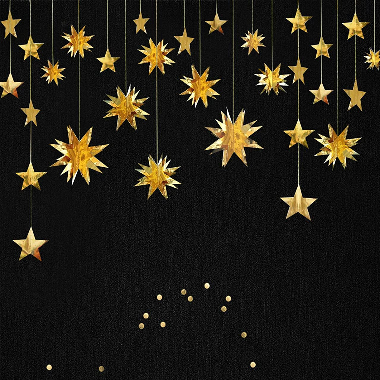Gold Decorations Kit,Star Paper Garland,3D Stars Party Decor,Metallic Bunting Banner-Holiday Supplies,Birthday,Wedding,Baby Shower,Hanging Decorations for Nursery,Kids,Girls Room by PinkBlume(4 Set).…