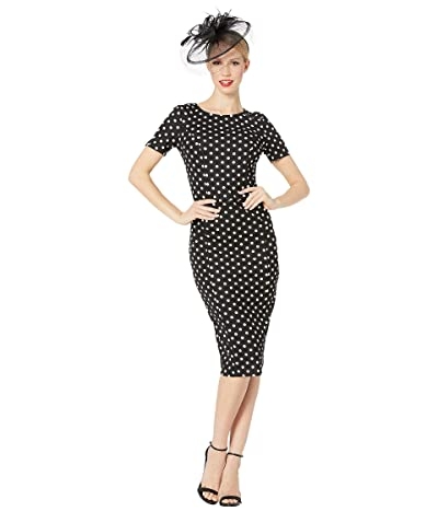 Unique Vintage 1960s Stretch Mod Wiggle Dress (Black/White Dotted) Women