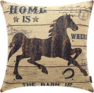 TRENDIN Throw Pillow Cover Weathered Wood Rustic Horse Decorative Pillow Case Home Decor Square 18 x 18 Inch PL238TR